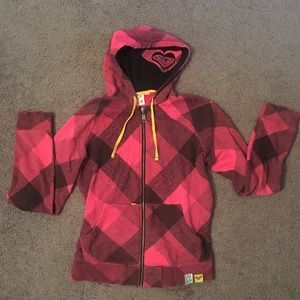 Pink checkers  Roxy hoodie